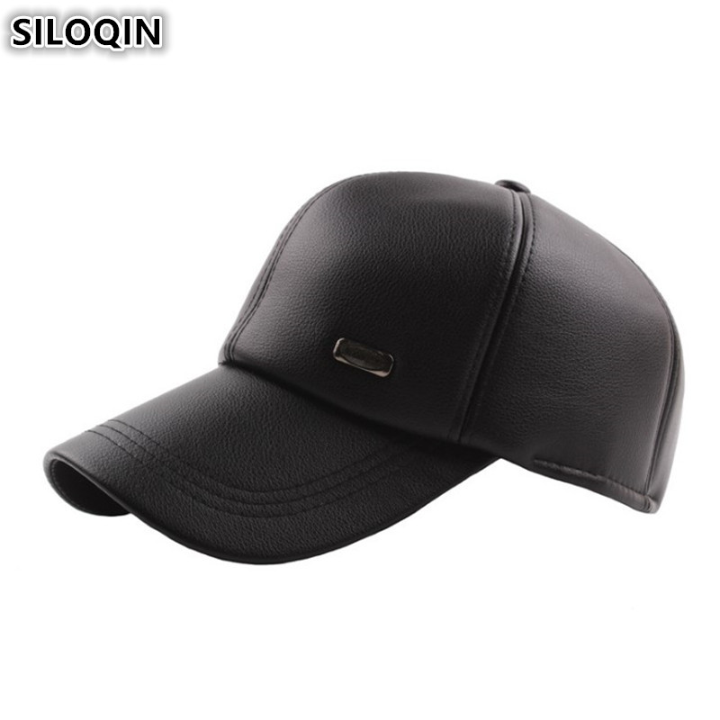SILOQIN Adjustable Size Men 39 s Winter Hat Plus Velvet Thick Warm Earmuffs Hats For Men Simple Casual Baseball Caps Snapback Cap in Men 39 s Baseball Caps from Apparel Accessories
