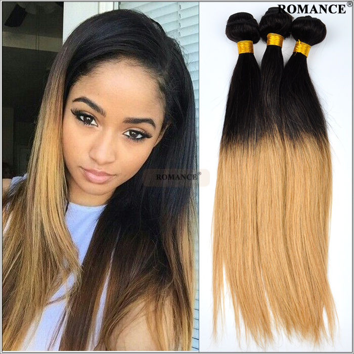 Romance Cheap 15A Ombre Human Hair Weave 15pcs/lot Silky Straight ...