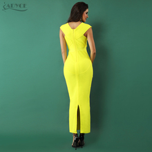 Adyce 2018 Elegant Women Bandage Dress Sexy Yellow Sleeveless  V Neck Nightclub Celebrity Party Dress Woman Maxi Dress Vestidos