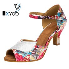 HXYOO Salsa Shoes for Dance Women Latin Ballroom Shoes Ladies Satin Soft Sole Red Flower with Silver WK017