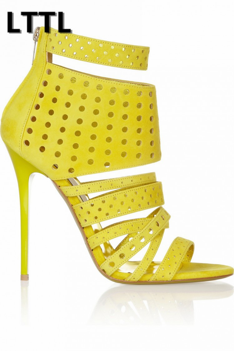 ФОТО yellow women sandals zipper cut-out high thin heels 10cm peep toe dress party women shoes ankle Rome fashion cheap price on sale