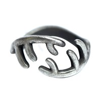Original Design Handmade Silver Personalized Antler Ring 925 Silver Simple Open Vintage ring