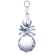 2PCS Clear 30mm Snowman Lighting Ball Glass Crystal Chandelier Part Prism Hanging Pendants Suncatcher Christmas Tree