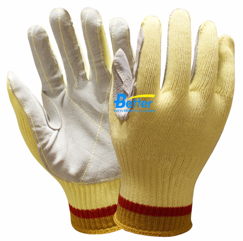 Aramid Fiber Safety Glove HPPE Split Cow Leather Palm Coated Cut Resistant Work Glove anti cut safety glove hppe cut resistant work glove