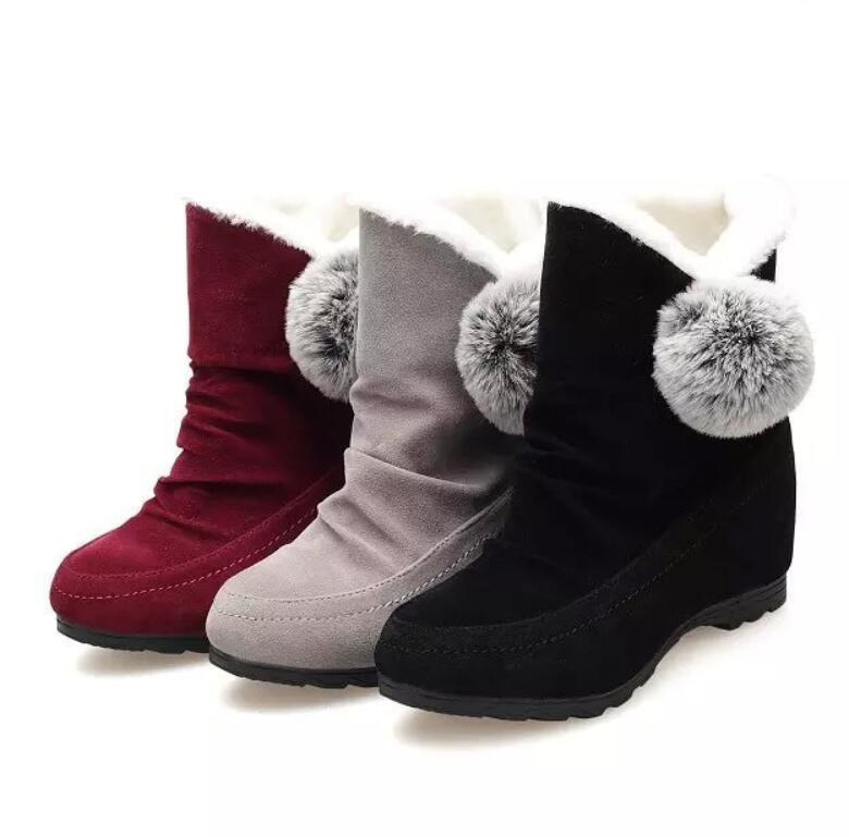 Estudiantes Zapatos Bottine Algodón T904 grey Calidez Black red Mujeres Felpa Casual Nieve Invierno Damas Tobillo Botas Pompón De Elegante Botines ZnrAWwZBq