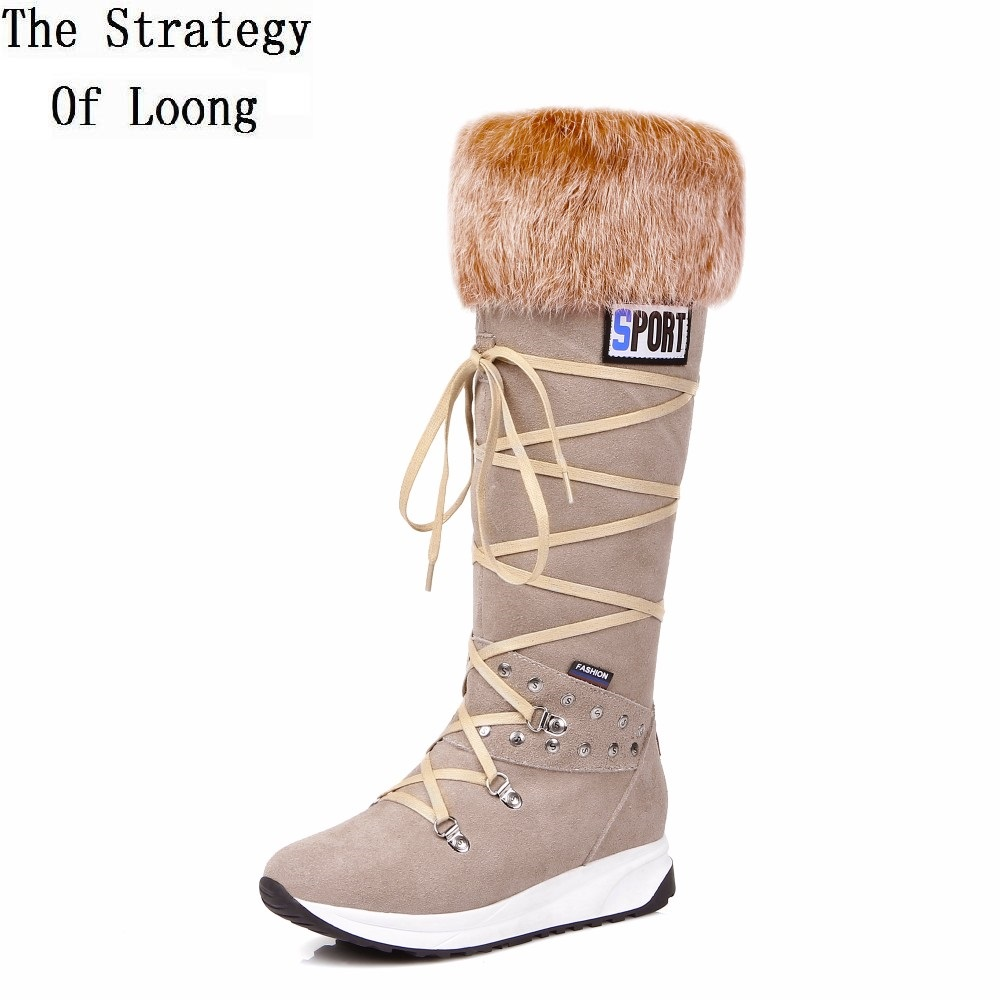Women Winter Full Grain Leather Short Plush Thick Warm Half Boots Genuine Leather Rabbits Fur Anti Wool Casual Boots 20161206 bacia winter boots for women full grain leather boots heels 5 8cm wool fur