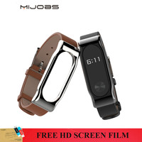 Original Mijobs Genuine Leather Strap With Metal Frame For Xiaomi Mi Band 2 Smart Bracelet Leather