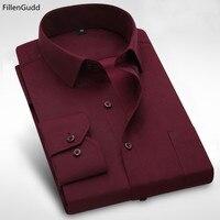 FillenG Plus size 8XL Lange Mouwen Effen Mannen Dress Shirts grote 7XL 6XL Wit Sociale Shirts Goedkope China Geïmporteerd Mannen kleding