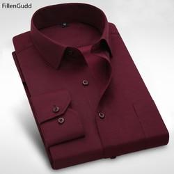 FillenG Plus size 8XL Long Sleeve Solid Men Dress Shirts Large 7XL 6XL White Social Shirts Cheap China Imported Men Clothing