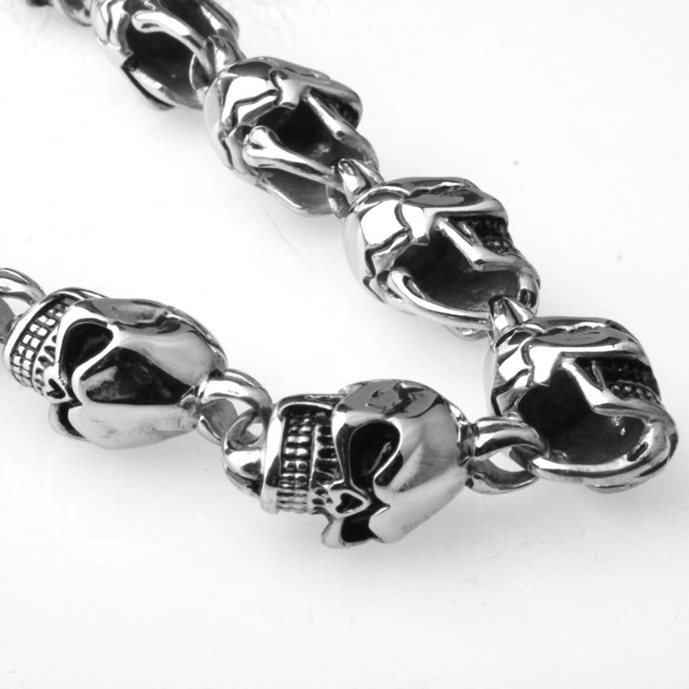 15mm lourd Cool en acier inoxydable 316L argent noir squelette tête de crâne Biker bijoux hommes collier cadeau de noël 28 pouces de Long - 5