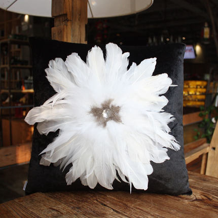 hot pillow diamond large feather home black white pillow cushions european luxury pillow by mail