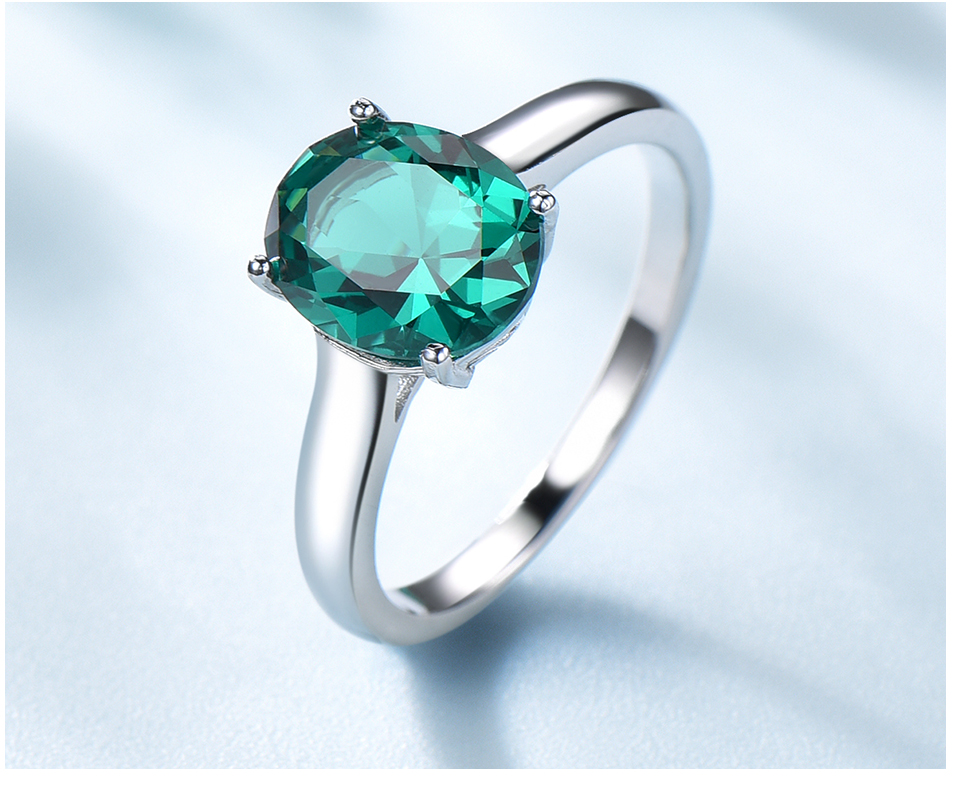 UMCHO ?Emerald   925 sterling silver ring for women NUJ095E-1-pc (5)