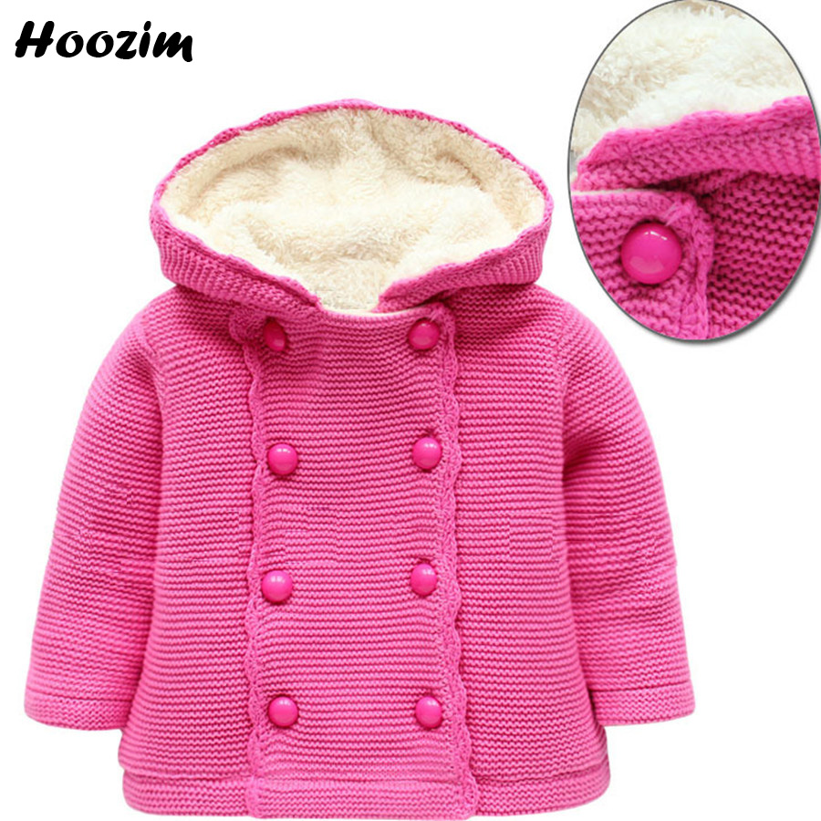 Baby Sweater European Winter Girls Cardigan Pink Hooded Thick Warm Knitted Sweater Kids Autumn Cotton Fleece Cardigan Children цены онлайн
