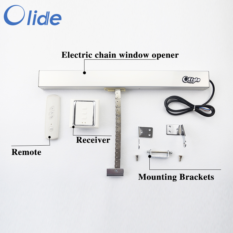 Electric Chain Window Opener,Window Opening System Automatic(remote control+receiver included) remote control single chain home window opener home window actuator remote control single chain