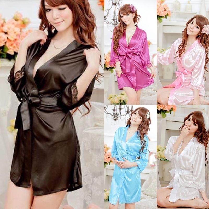 Women Sexy Satin Lace Robe Sleepwear Lingerie Nightdress Pajamas Mini Dress