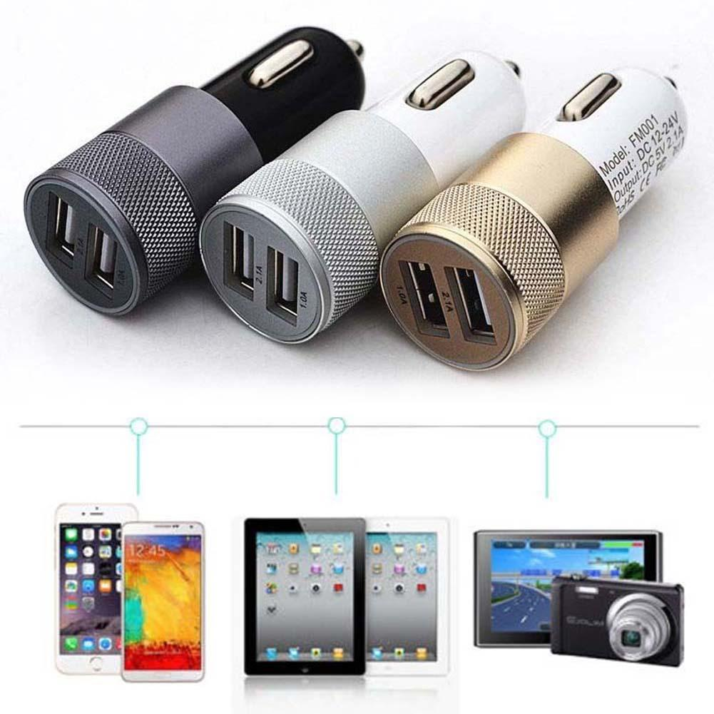 Car Universal Cigarette Lighter Charger Adapter Automobile Mini Dual USB 2 Port 5V 2.1A Car Charger for Mobile Phone Pad