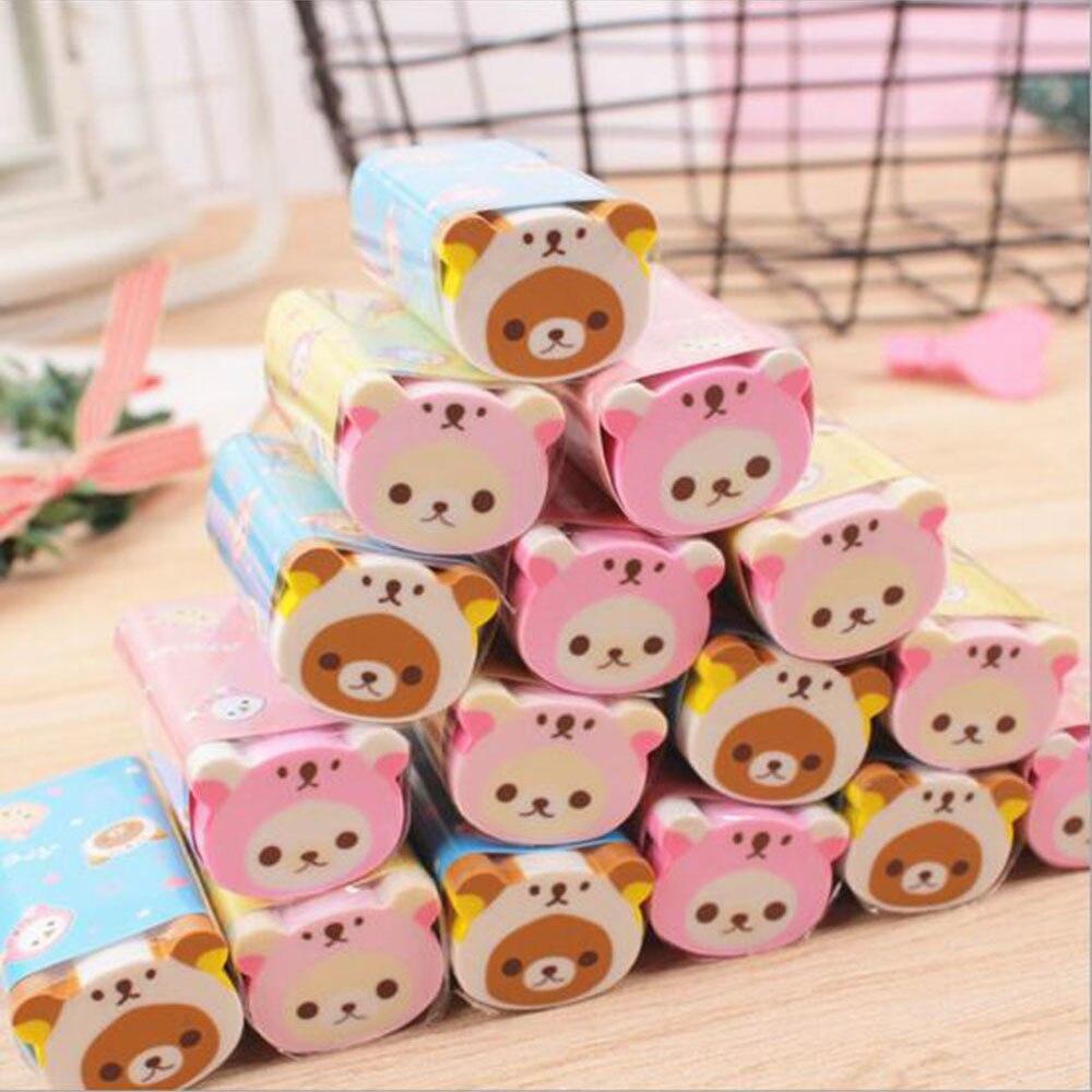 1PC Novelty Erasers Cute Cartoon Animals Rubber Kawaii Bear Pencil Eraser Girls Kids Gifts School Office Korean Stationery