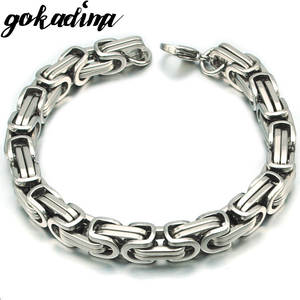 Gokadima Chain Bracelet Link Byzantine Mens Jewelry Stainless-Steel New-Product Silver-Color