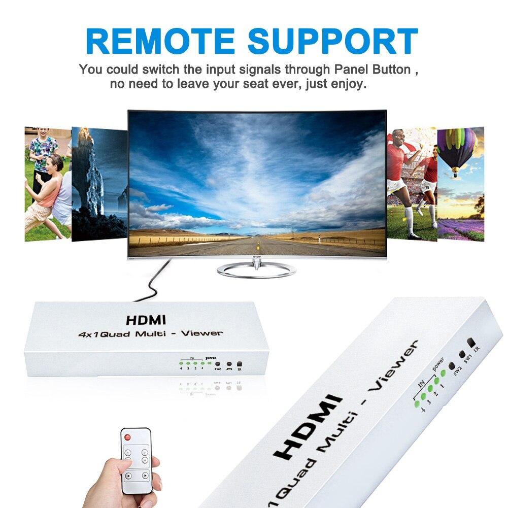 4 K HUB Switcher 4x1 Quad Multi-viewer Haute-Définition Écran Segmentation Commutation Transparente Commutateur de Sortie pour HDTV DVD PS3 STB