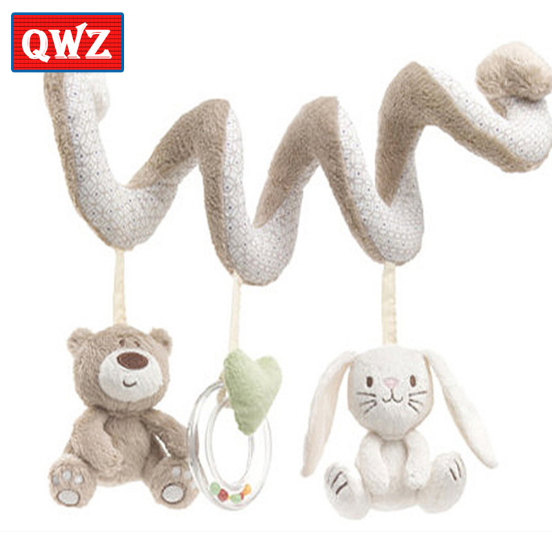 QWZ Newborn Baby Rattle Plush Toy Bedside Decoration Rattles Toy Mobile Educational Toy Stuffed Animal Hanging Bell Toys