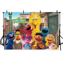 Vinyl Elmo World Bricks Wall Sesame Street Birthday Party newborn Photography Studio Background Backdrop