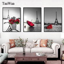 Paris Red Rose Umbrella Canvas Painting Artistic Conception Landscape Posters Prints Modren Nordic Wall Picture Room Home Decor