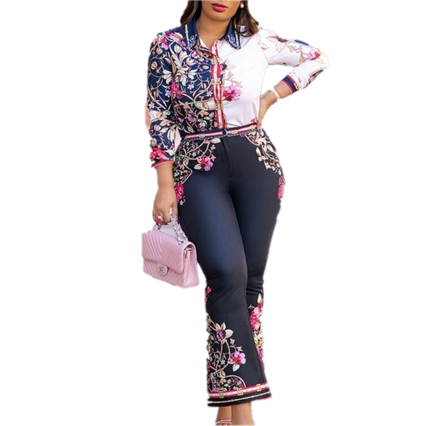 2 Piece Set Africa Clothing Suit For Women Sets New African Print Elastic Bazin Baggy Rock Style Dashiki Sleeve Famous Suit Lady