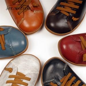 Image 5 - 男性ヴィンテージハンドメイド本革フラットカジュアルブーツ男黒快適な通気性の頭部層牛革ブーツ男性の靴