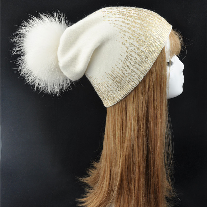 Winter Women Fur Pompom Beanies Natural Fur Hat With 15cm Raccoon Fur Ball For Women Hip Hop Skullies Cap Winter Fur Pom Pom Hat