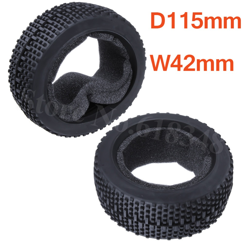 2pcs RC 1/8 Buggy Rubber Tyre Tire Diameter 115 Width: 42mm For HSP Redcat HPI Himoto Exceed AMAX