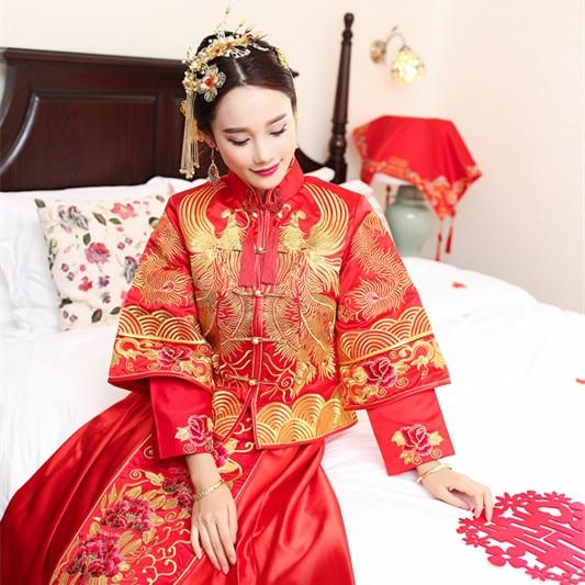 Kimono Wedding Gown: Bride Married Cheongsam Dress Dragon Gown Show Dress