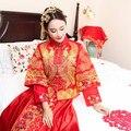 Bride married cheongsam dress dragon gown show dress evening clothes pratensis chinese style Wedding kimono golden phoenix