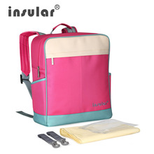 Insular Mummy Maternity Nappy Bag Large Capacity Stroller Baby Diaper Bag Travel Backpack Multifunctional Baby Care Nursing Bag  цена и фото