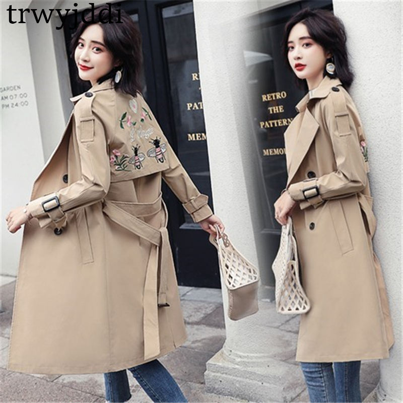 2019 new Fashion Embroidered Windbreaker Female Spring Autumn Korean Chic Waist Long   Trench   Coat For Women Outerwear N472