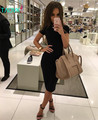 TAOVK 2016 новая мода Русский стиль женщины Лето/Осень Черный Dress O-образным Вырезом Тонкий пакет хип коротким рукавом платья