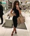 Taovk 2016 nova moda russa estilo mulheres verão/outono black dress o pescoço pacote magro hip-manga curta vestidos