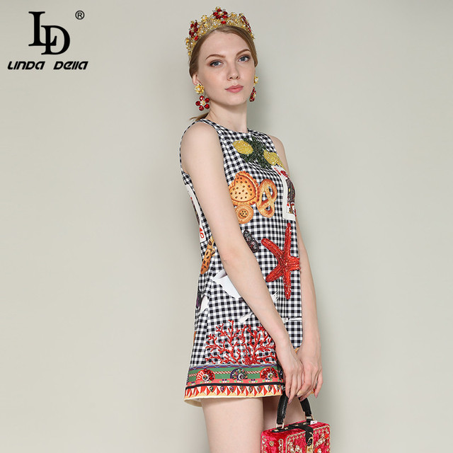 Runway Summer DressWomen's Sleeveless Luxury Crystal Beading Plaid Printed Vintage Short Dress