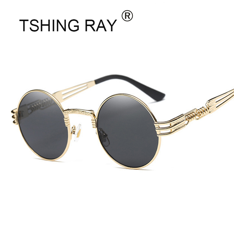 TSHING RAY Gothic Steampunk Sunglasses Men Metal Round Shades Male Clear Sun Glasses For Women Hip Hop Steam Punk