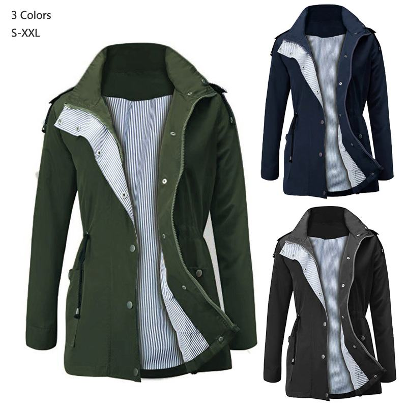 Europe 2019 Spring Autumn Women waterproof Coats Medium Long Casual Hooded outerwear Female   Trench   coats Fashion lady clothing