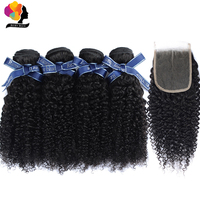 Remyblue Brazilian Hair Weave Bundles Afro Kinky Curly Bundles with Closure Natural Color Remy Human Hair Bundles with Closure