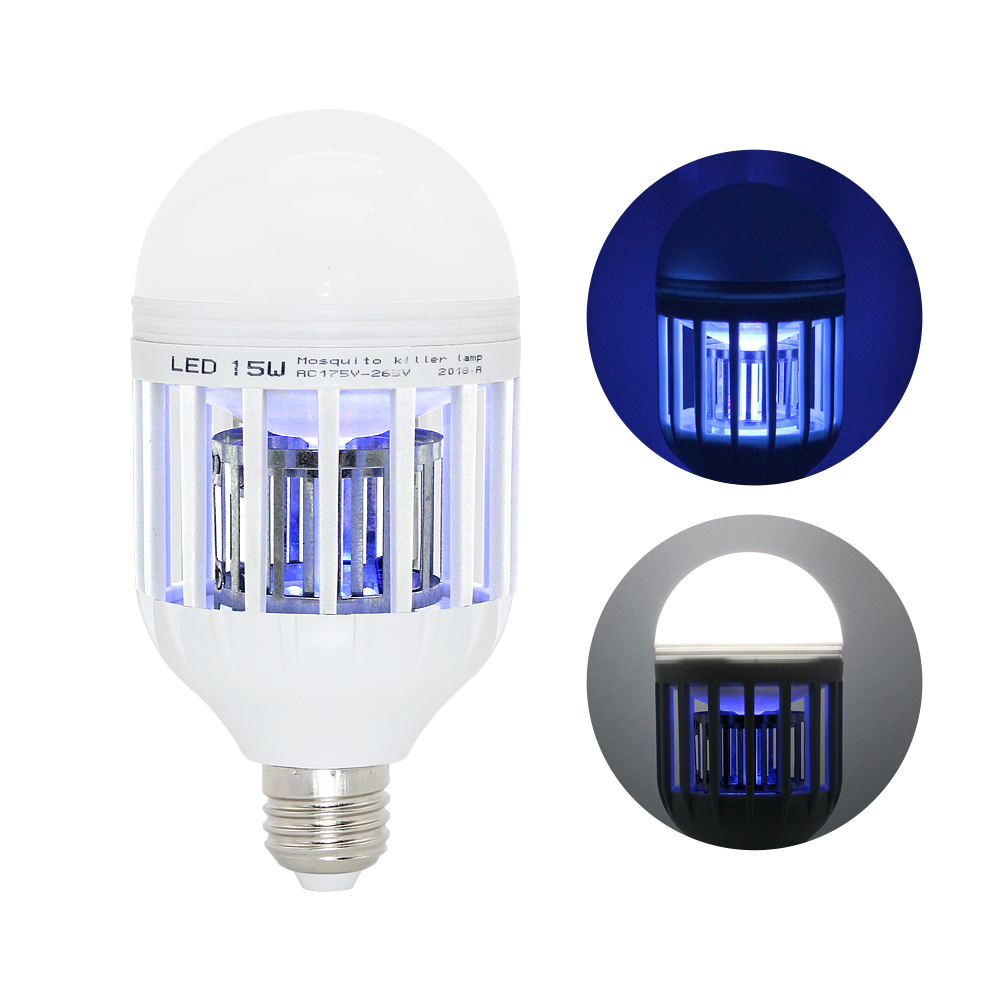 2 In 1 9W 15W LED Bulb Mosquito Killer Lamp 220-240V E27 Electric Trap Mosquito Killer Light Moths Pest Control EU US AU Plug