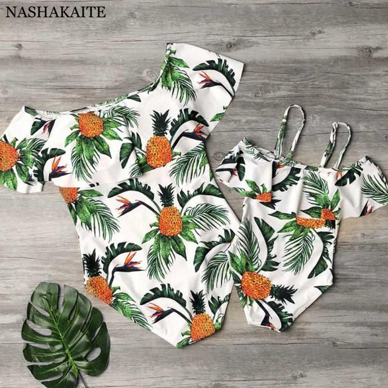83fb5ab210 NASHAKAITE Mommy and me swimsuit Off Shoulder Pineapple Leaf Print mae e  filha Swimsuits mom and daughter Family Look -in Matching Family Outfits  from ...