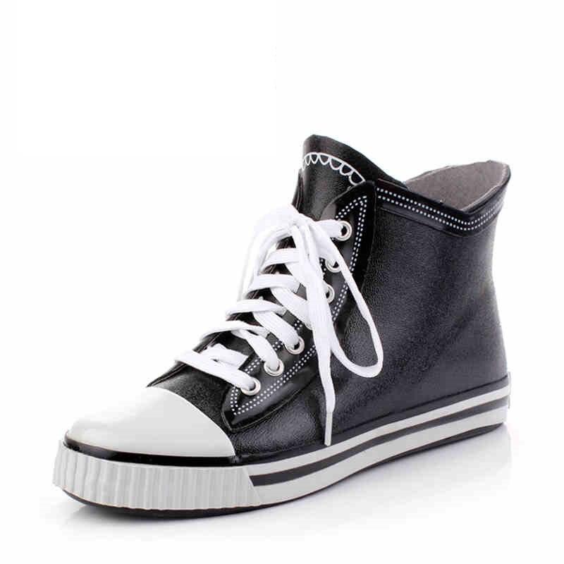 font b Men s b font fashion lace rain font b boots b font waterproof