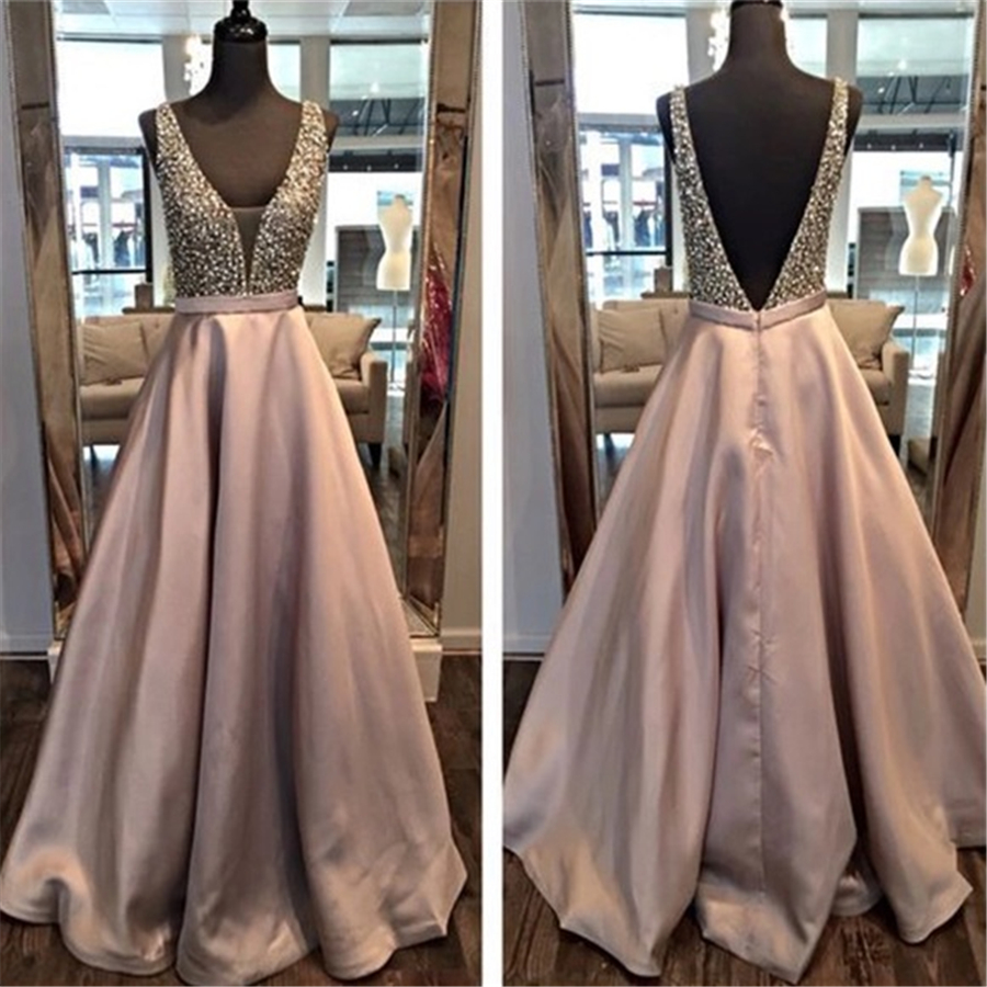 Deep V-neck A-line Matte Satin Sequin Crystals Evening   Dresses   Nude Pink Long Reals   Prom     Dress   Open Back