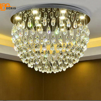 Luxury Flush Mount Crystal Chandelier Modern Crystal LED Lights For Home Lustres Plafonnier Kristall Kronleuchter