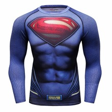 Superman Printed font b Men b font Compression font b Shirt b font Batman Skull Tights
