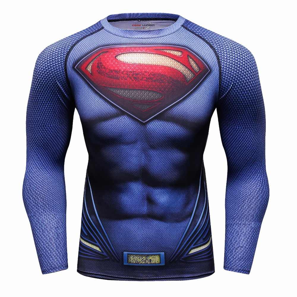 슈퍼맨 인쇄 남자 압축 셔츠 배트맨 해골 스타킹 사이클링 기능성 속옷 체육관 피트니스 의류 camiseta