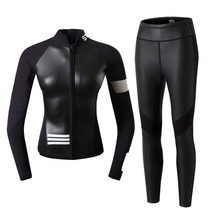 цены free shipping 2MM Neoprene Wetsuit Tops Long Sleeve Swimsuit Shirt Womens Anti-UV Spearfishing Swim Diving Wetsuits Jacket