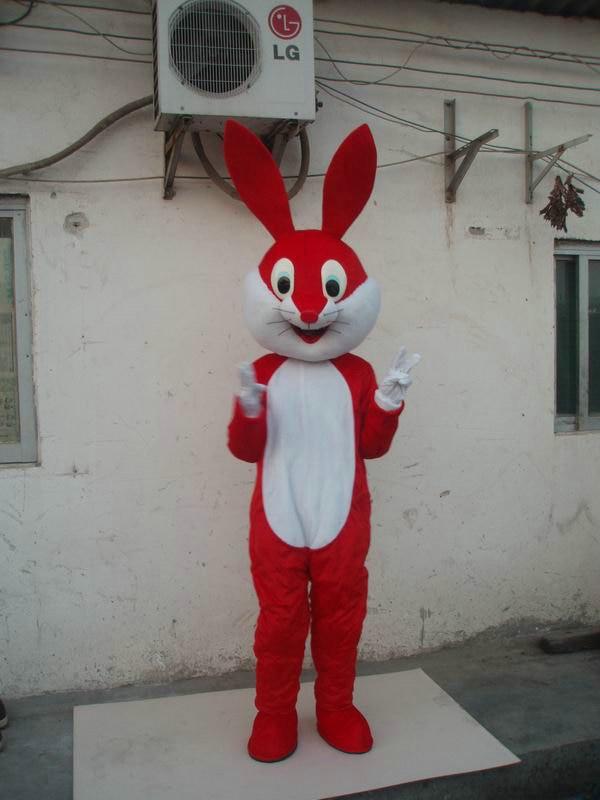 Летняя Горячая распродажа! Новый взрослый костюм Красного кролика талисмана с костюмами обувь вечернее платье костюм на Хэллоуин