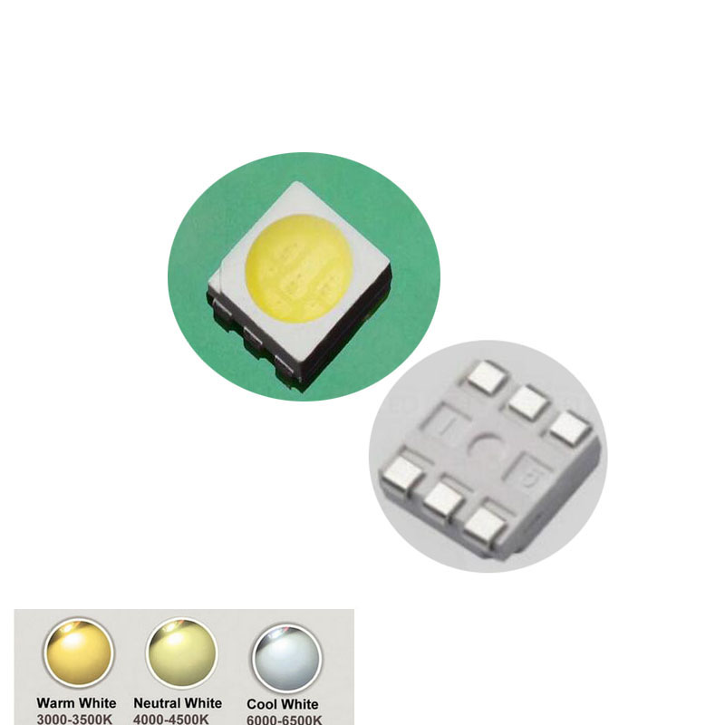 100PCS Ultra Bright 5050 LED SMD White Chip Surface Mount 60ma Light-Emitting Diode LED SMT Bead Lamp Light DIY Practice